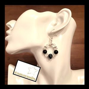 Frontrow.style Jewelry - Sterling Silver Earrings Verena Black Onyx White
